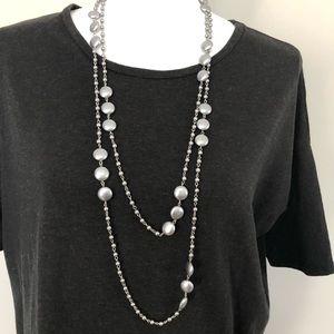 Premier Designs Necklace Long Beaded Sliver Grey